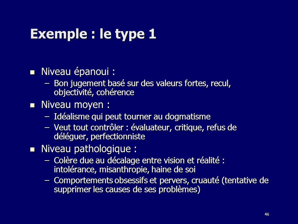 46 Exemple : le type 1 Niveau épanoui : Niveau épanoui : –Bon jugement basé sur des valeurs fortes, recul, objectivité, cohérence Niveau moyen : Nivea