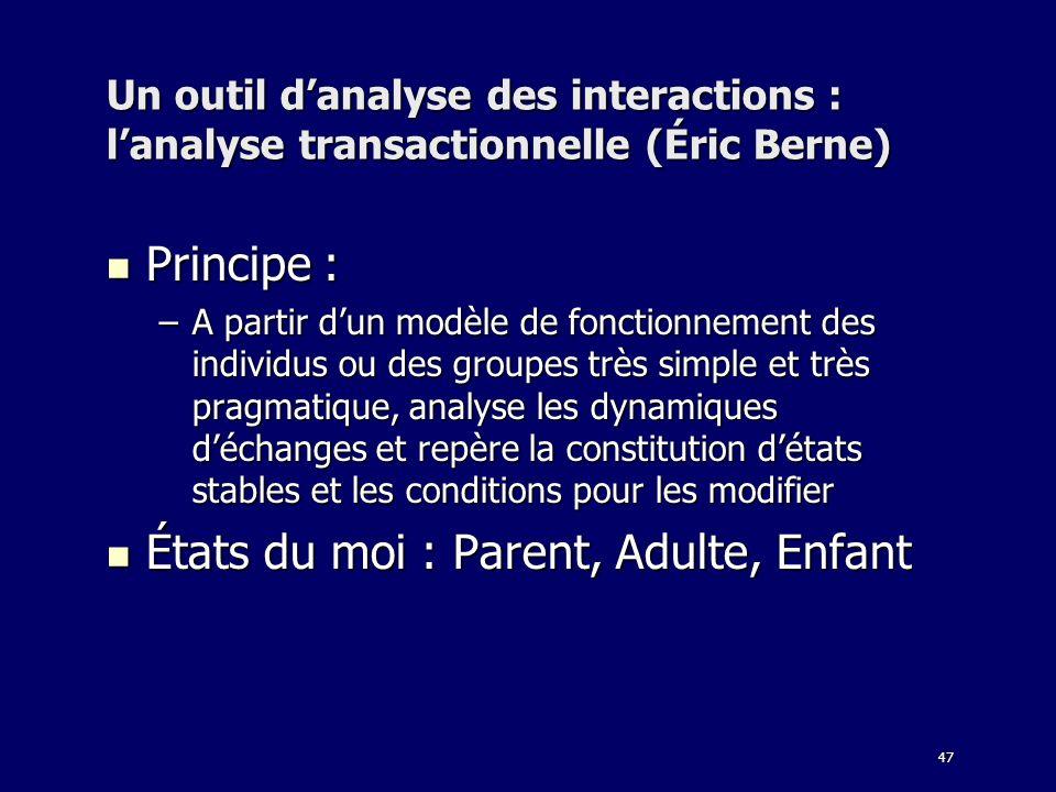 47 Un outil danalyse des interactions : lanalyse transactionnelle (Éric Berne) Principe : Principe : –A partir dun modèle de fonctionnement des indivi