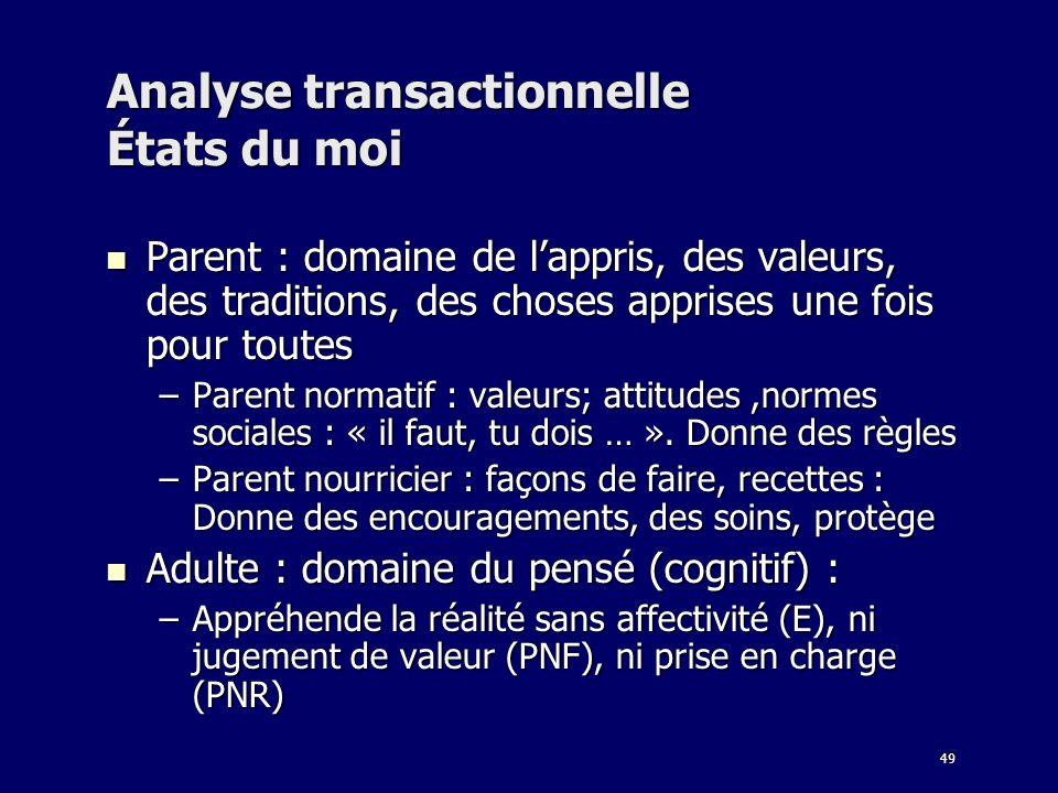 49 Analyse transactionnelle États du moi Parent : domaine de lappris, des valeurs, des traditions, des choses apprises une fois pour toutes Parent : d