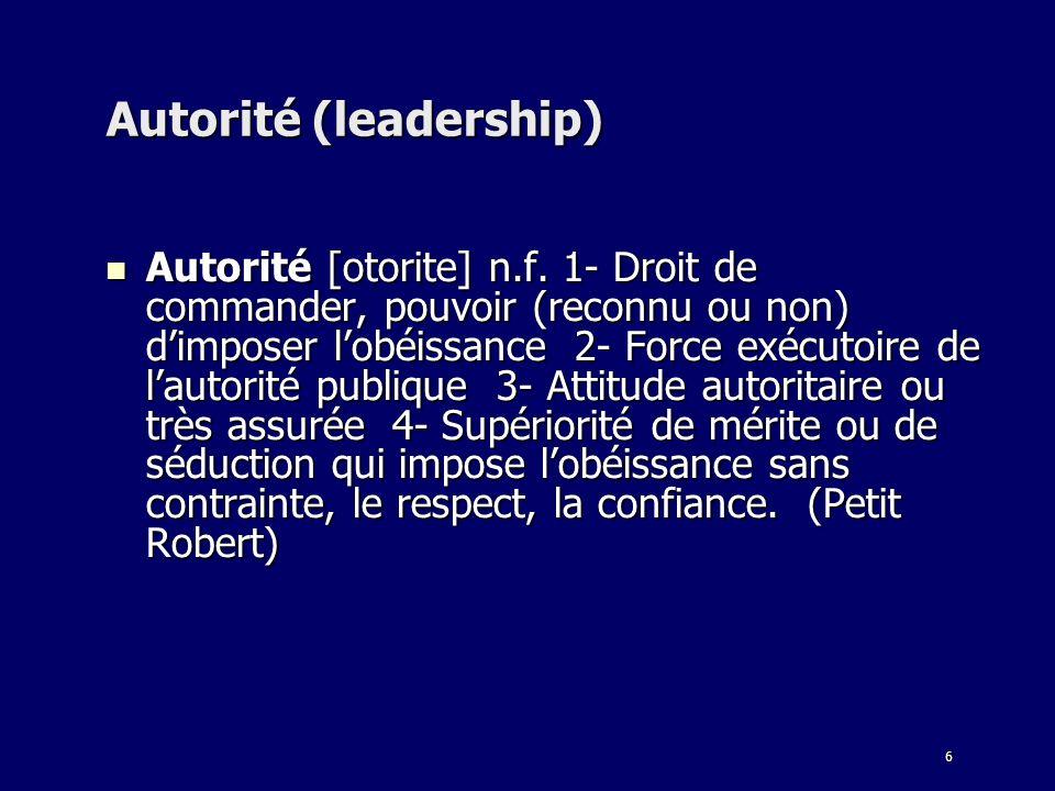 6 Autorité (leadership) Autorité [otorite] n.f. 1- Droit de commander, pouvoir (reconnu ou non) dimposer lobéissance 2- Force exécutoire de lautorité
