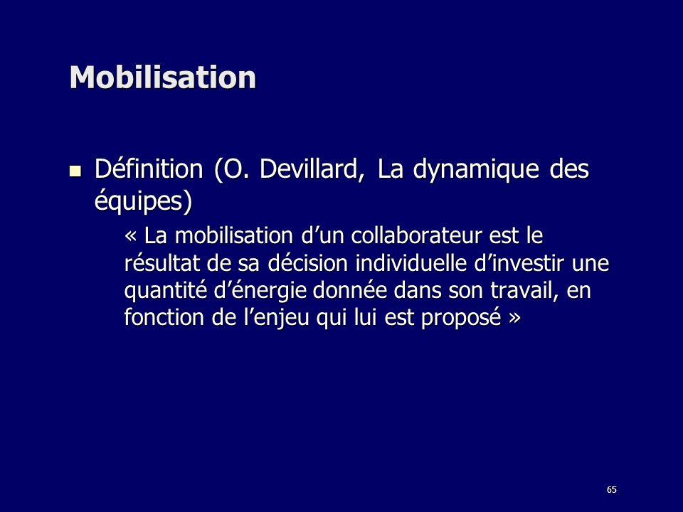 65 Mobilisation Définition (O. Devillard, La dynamique des équipes) Définition (O. Devillard, La dynamique des équipes) « La mobilisation dun collabor