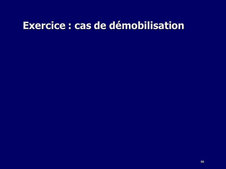 66 Exercice : cas de démobilisation