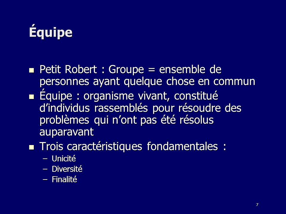 7 Équipe Petit Robert : Groupe = ensemble de personnes ayant quelque chose en commun Petit Robert : Groupe = ensemble de personnes ayant quelque chose