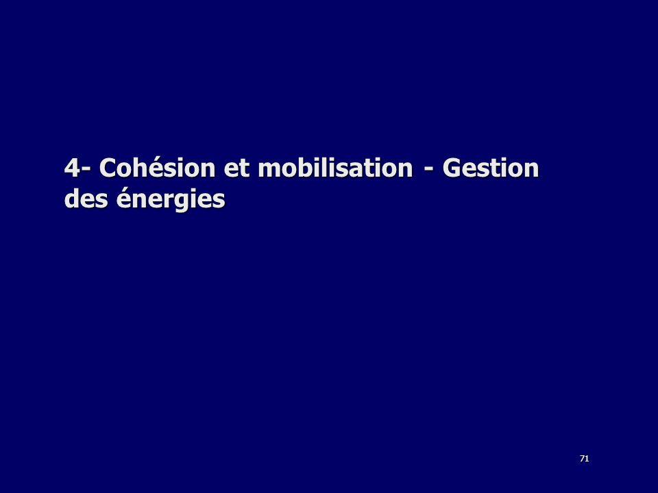 71 4- Cohésion et mobilisation - Gestion des énergies