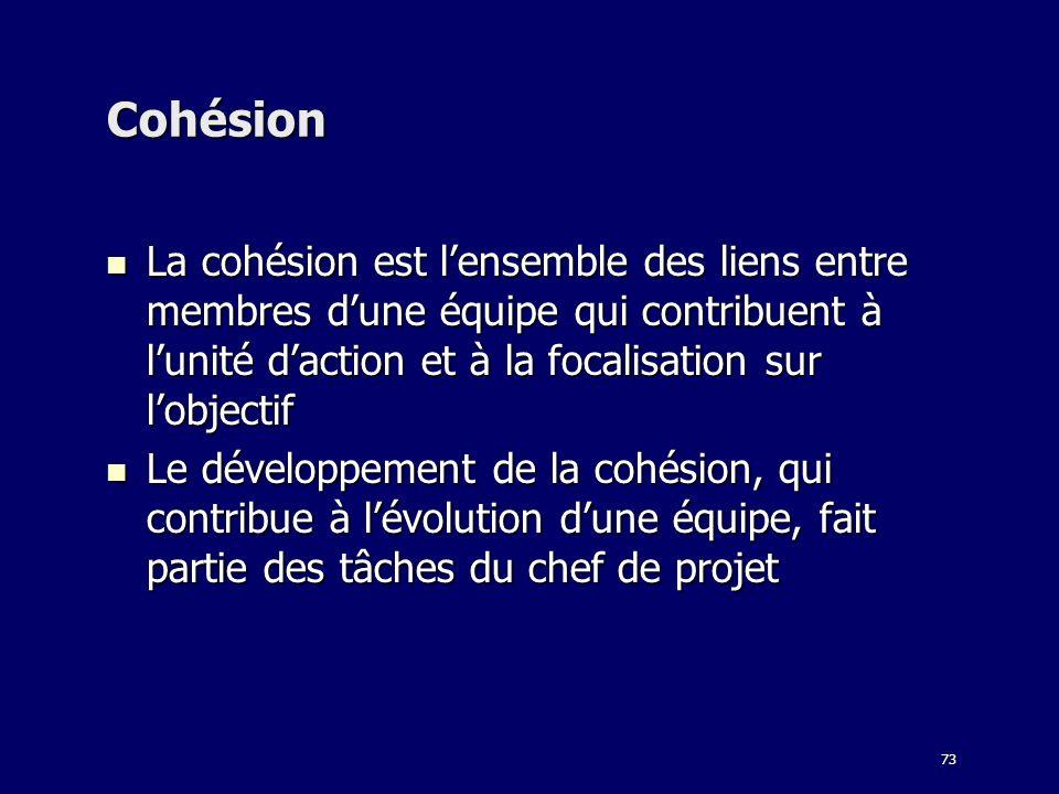73 Cohésion La cohésion est lensemble des liens entre membres dune équipe qui contribuent à lunité daction et à la focalisation sur lobjectif La cohés