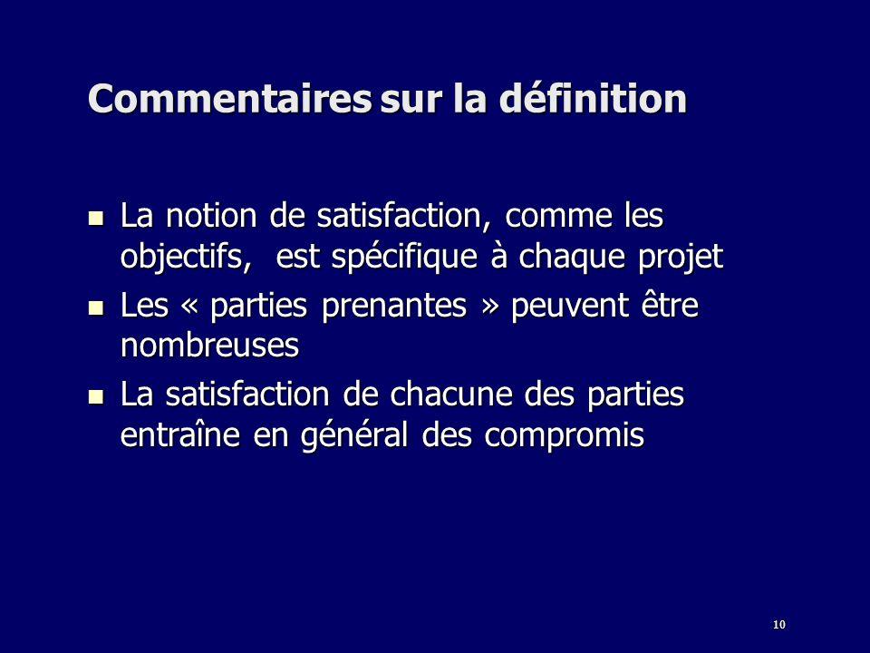 10 Commentaires sur la définition La notion de satisfaction, comme les objectifs, est spécifique à chaque projet La notion de satisfaction, comme les