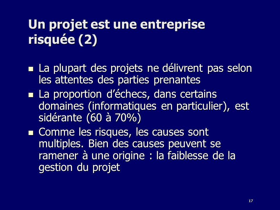 17 Un projet est une entreprise risquée (2) La plupart des projets ne délivrent pas selon les attentes des parties prenantes La plupart des projets ne
