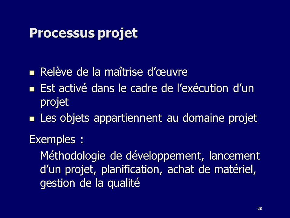 28 Processus projet Relève de la maîtrise dœuvre Relève de la maîtrise dœuvre Est activé dans le cadre de lexécution dun projet Est activé dans le cad