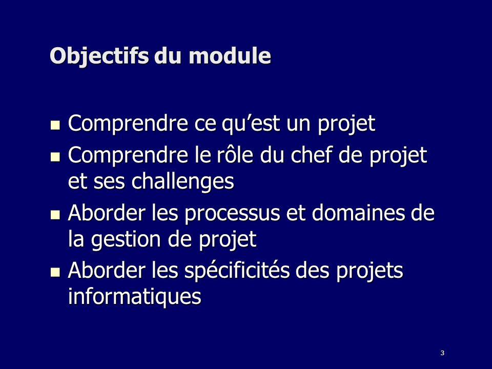 3 Objectifs du module Comprendre ce quest un projet Comprendre ce quest un projet Comprendre le rôle du chef de projet et ses challenges Comprendre le