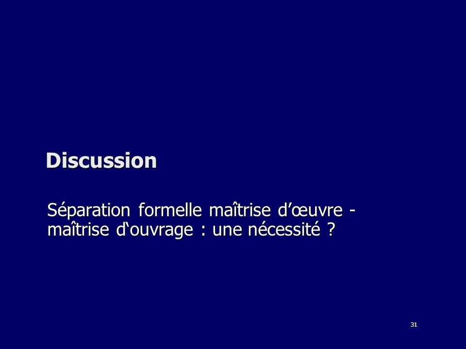 31 Discussion Séparation formelle maîtrise dœuvre - maîtrise douvrage : une nécessité ?