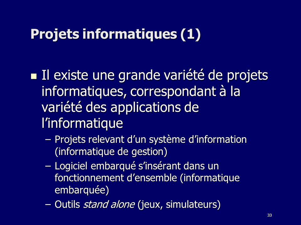33 Projets informatiques (1) Il existe une grande variété de projets informatiques, correspondant à la variété des applications de linformatique Il ex