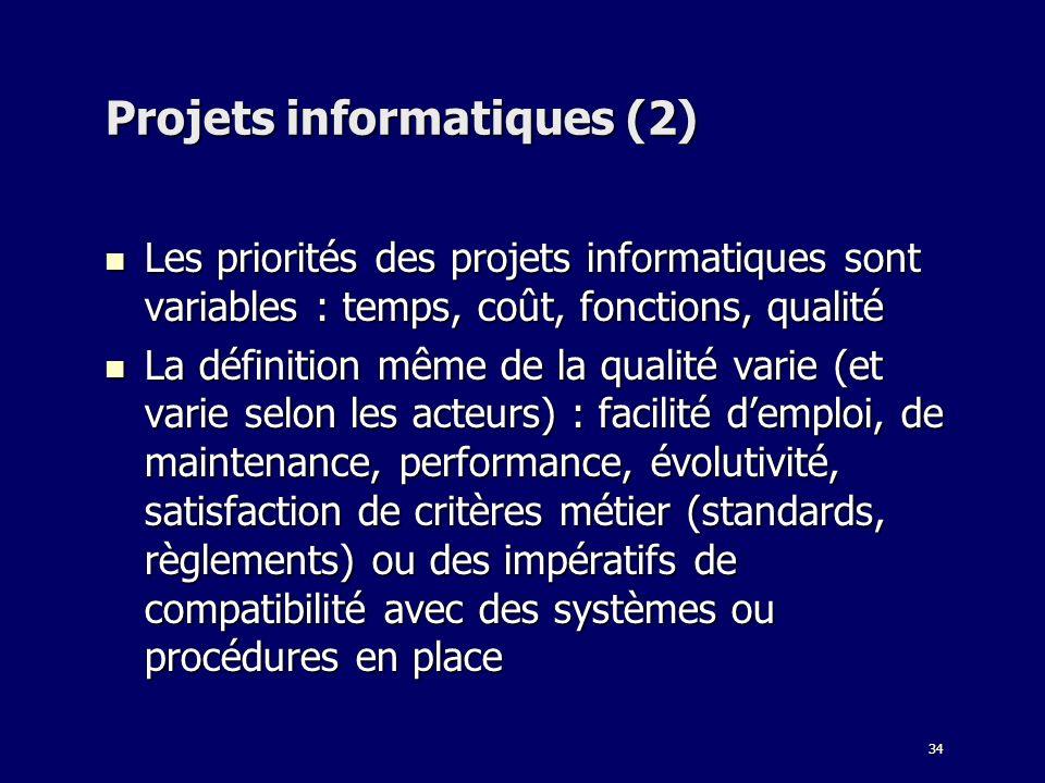 34 Projets informatiques (2) Les priorités des projets informatiques sont variables : temps, coût, fonctions, qualité Les priorités des projets inform