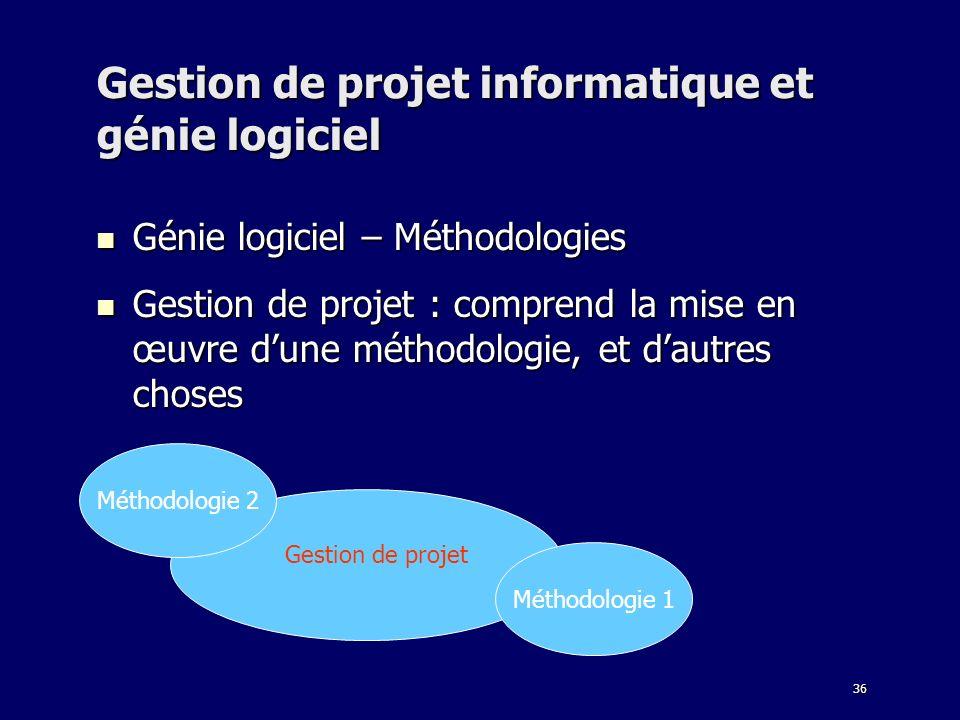 36 Gestion de projet informatique et génie logiciel Génie logiciel – Méthodologies Génie logiciel – Méthodologies Gestion de projet : comprend la mise