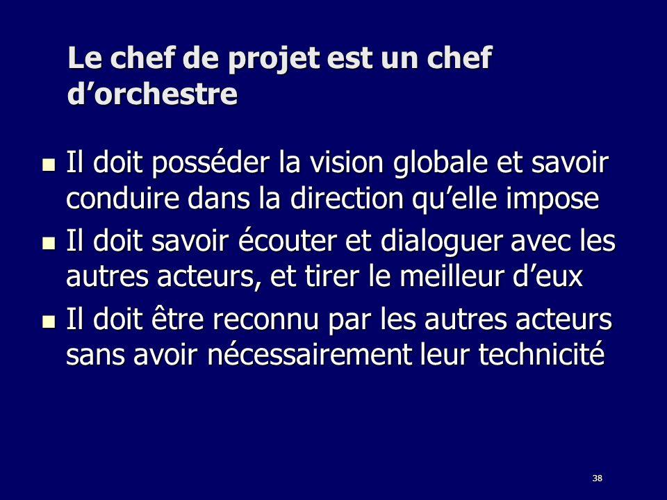 38 Le chef de projet est un chef dorchestre Il doit posséder la vision globale et savoir conduire dans la direction quelle impose Il doit posséder la