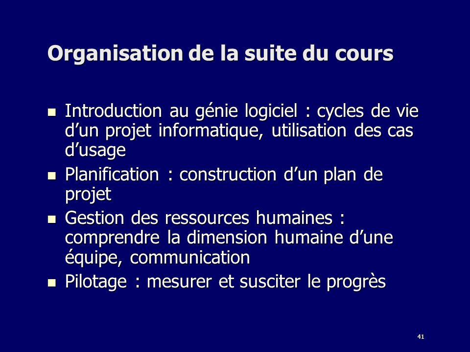 41 Organisation de la suite du cours Introduction au génie logiciel : cycles de vie dun projet informatique, utilisation des cas dusage Introduction a