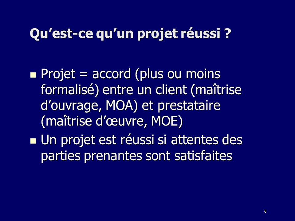 6 Quest-ce quun projet réussi ? Projet = accord (plus ou moins formalisé) entre un client (maîtrise douvrage, MOA) et prestataire (maîtrise dœuvre, MO