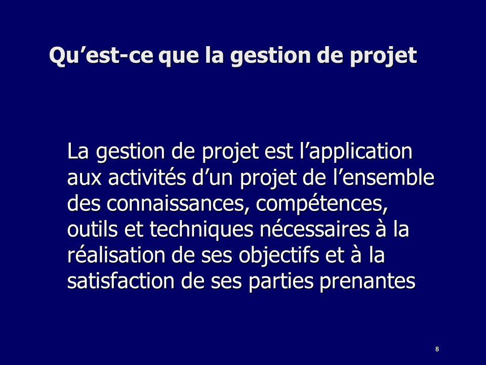 8 Quest-ce que la gestion de projet La gestion de projet est lapplication aux activités dun projet de lensemble des connaissances, compétences, outils