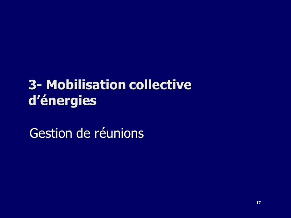 17 3- Mobilisation collective dénergies Gestion de réunions