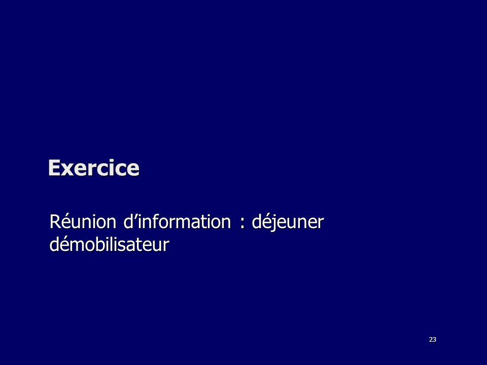 23 Exercice Réunion dinformation : déjeuner démobilisateur