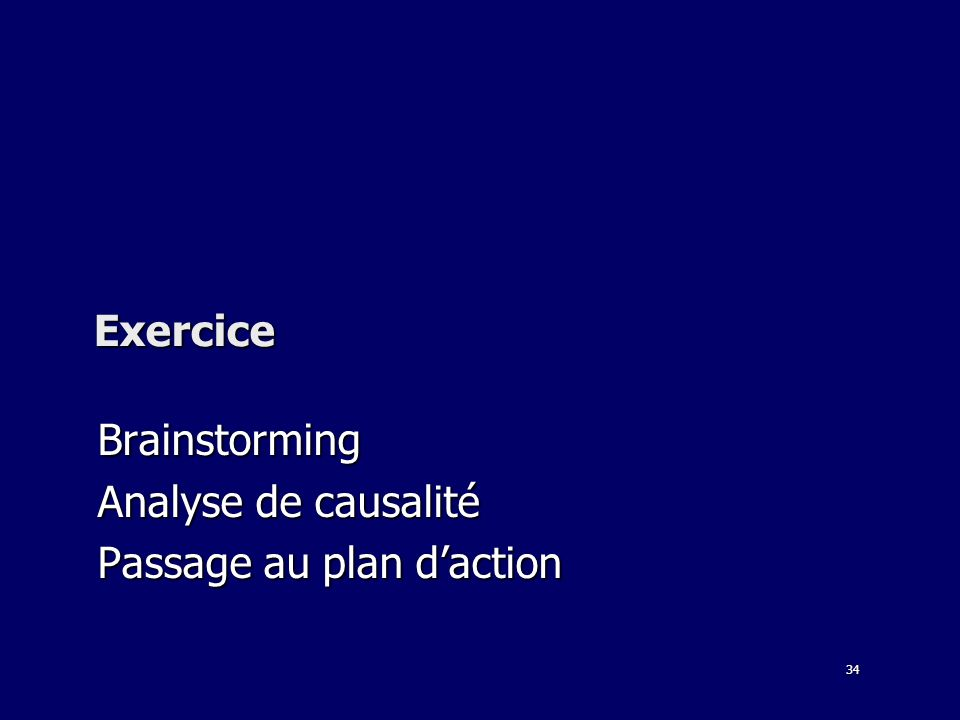 34 Exercice Brainstorming Analyse de causalité Passage au plan daction