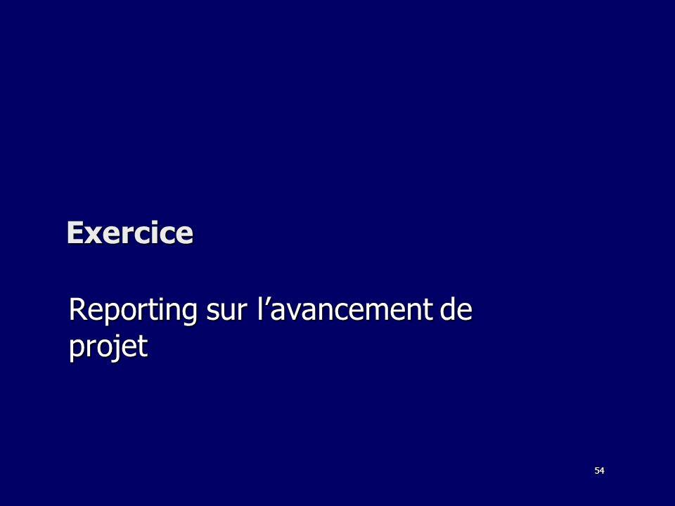 54 Exercice Reporting sur lavancement de projet