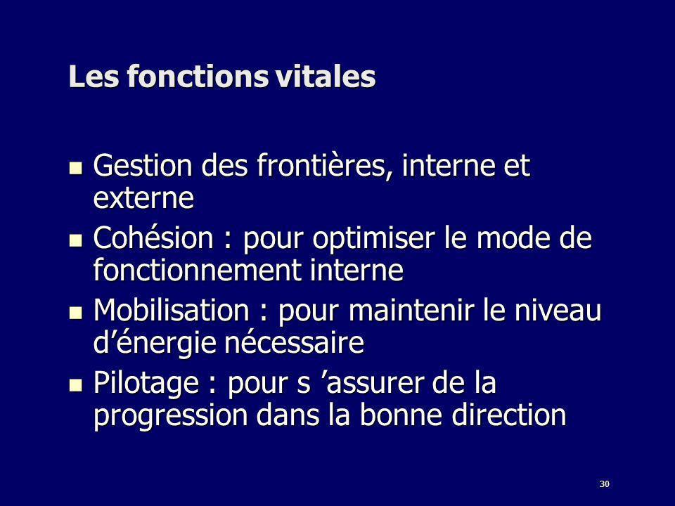 30 Les fonctions vitales Gestion des frontières, interne et externe Gestion des frontières, interne et externe Cohésion : pour optimiser le mode de fo