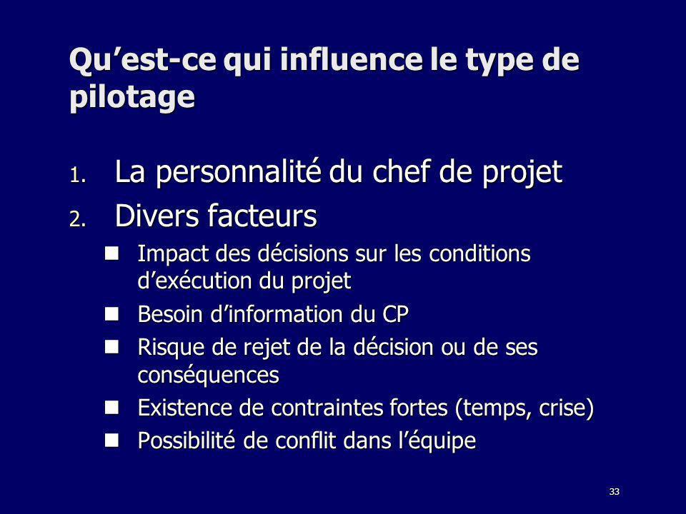 33 Quest-ce qui influence le type de pilotage 1. La personnalité du chef de projet 2. Divers facteurs Impact des décisions sur les conditions dexécuti