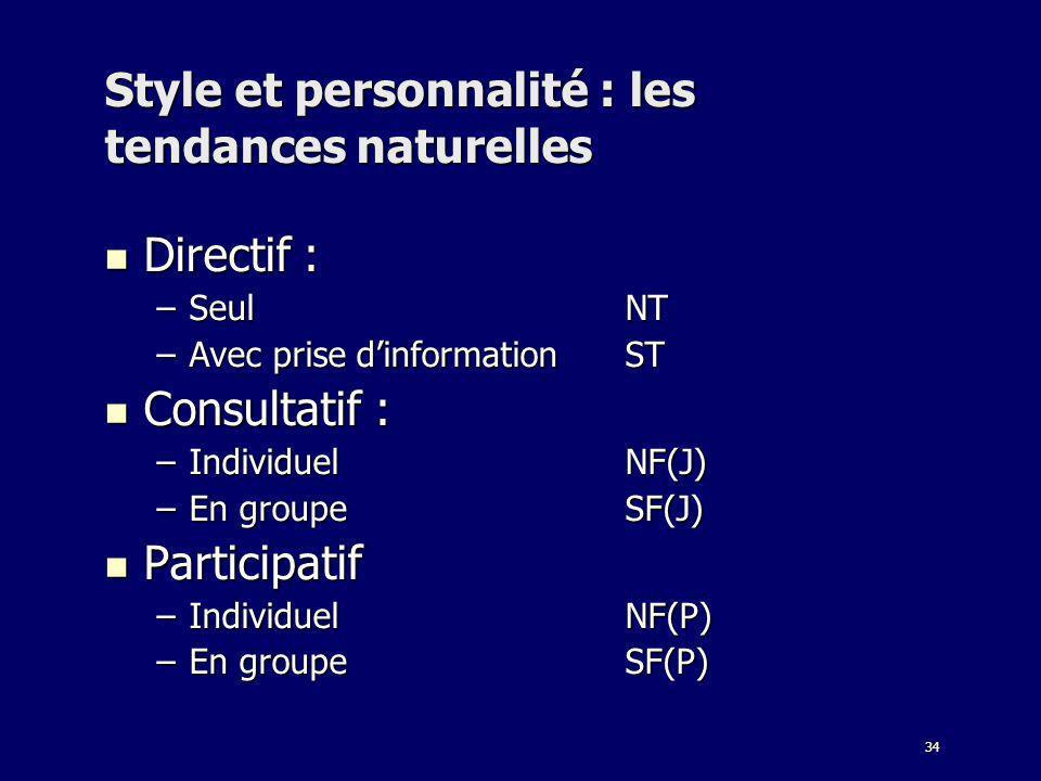34 Style et personnalité : les tendances naturelles Directif : Directif : –SeulNT –Avec prise dinformationST Consultatif : Consultatif : –IndividuelNF