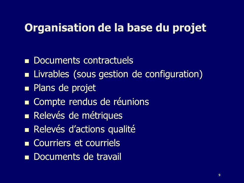 9 Organisation de la base du projet Documents contractuels Documents contractuels Livrables (sous gestion de configuration) Livrables (sous gestion de