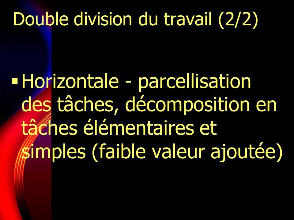 Double division du travail (2/2) Horizontale - parcellisation des tâches, décomposition en tâches élémentaires et simples (faible valeur ajoutée)