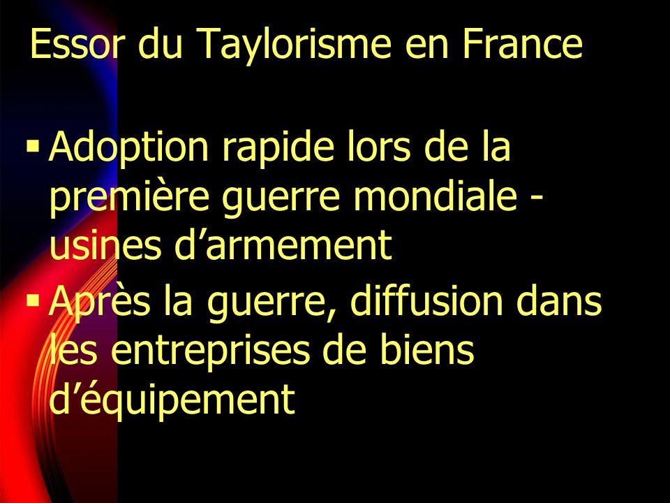 Essor du Taylorisme en France Adoption rapide lors de la première guerre mondiale - usines darmement Après la guerre, diffusion dans les entreprises d