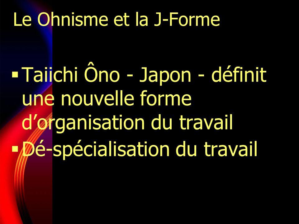Le Ohnisme et la J-Forme Taiichi Ôno - Japon - définit une nouvelle forme dorganisation du travail Dé-spécialisation du travail