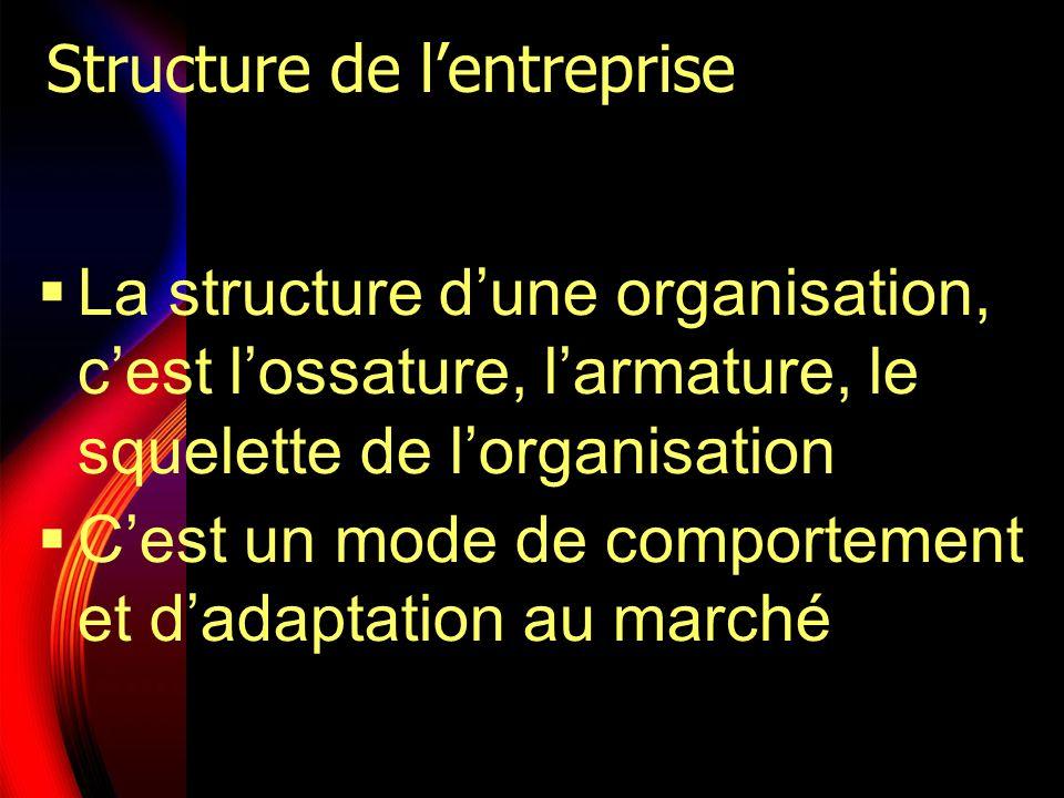 Structure de lentreprise La structure dune organisation, cest lossature, larmature, le squelette de lorganisation Cest un mode de comportement et dada