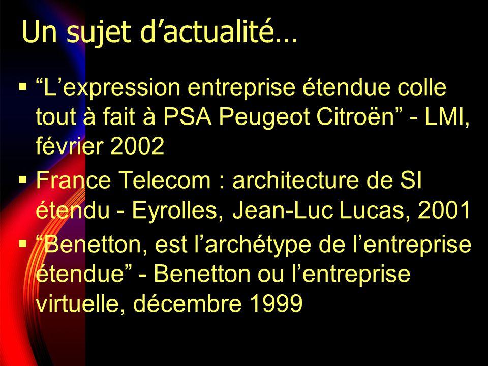 Un sujet dactualité… Lexpression entreprise étendue colle tout à fait à PSA Peugeot Citroën - LMI, février 2002 France Telecom : architecture de SI ét