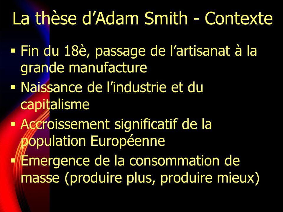 La thèse dAdam Smith - Contexte Fin du 18è, passage de lartisanat à la grande manufacture Naissance de lindustrie et du capitalisme Accroissement sign