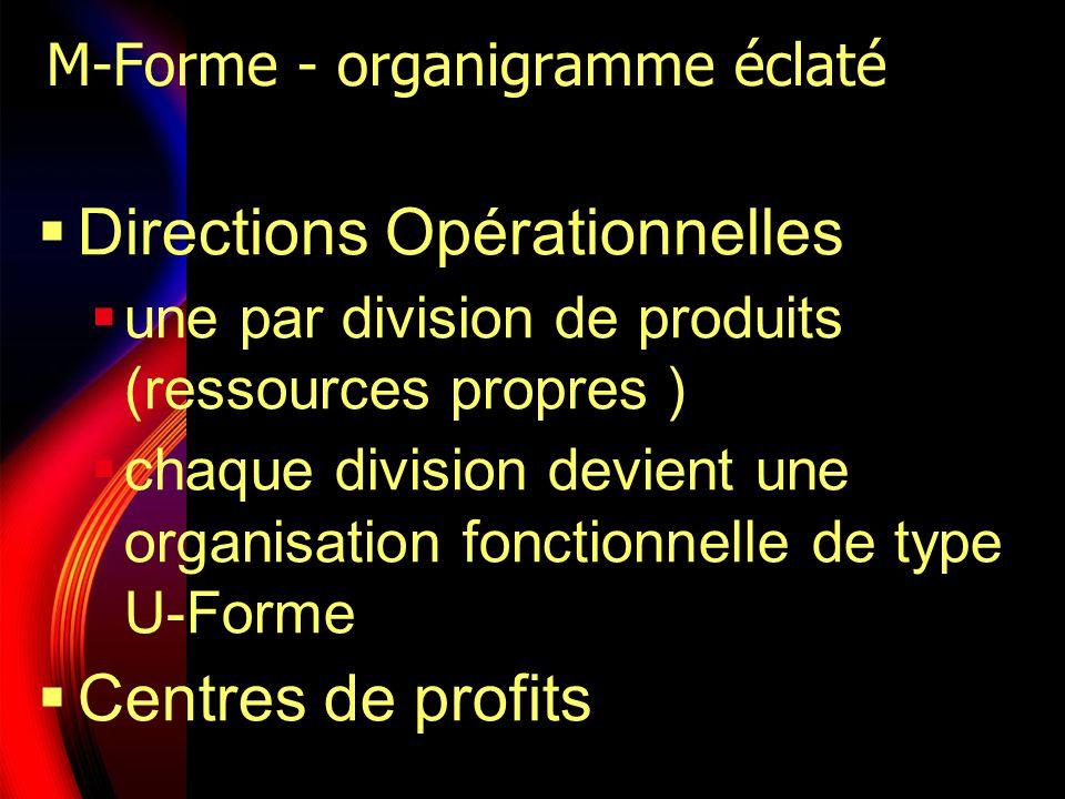 M-Forme - organigramme éclaté Directions Opérationnelles une par division de produits (ressources propres ) chaque division devient une organisation f