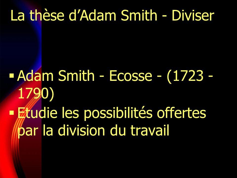 La thèse dAdam Smith - Diviser Adam Smith - Ecosse - (1723 - 1790) Etudie les possibilités offertes par la division du travail