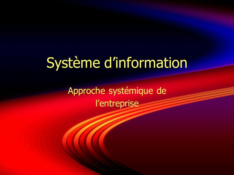 Système dinformation Approche systémique de lentreprise