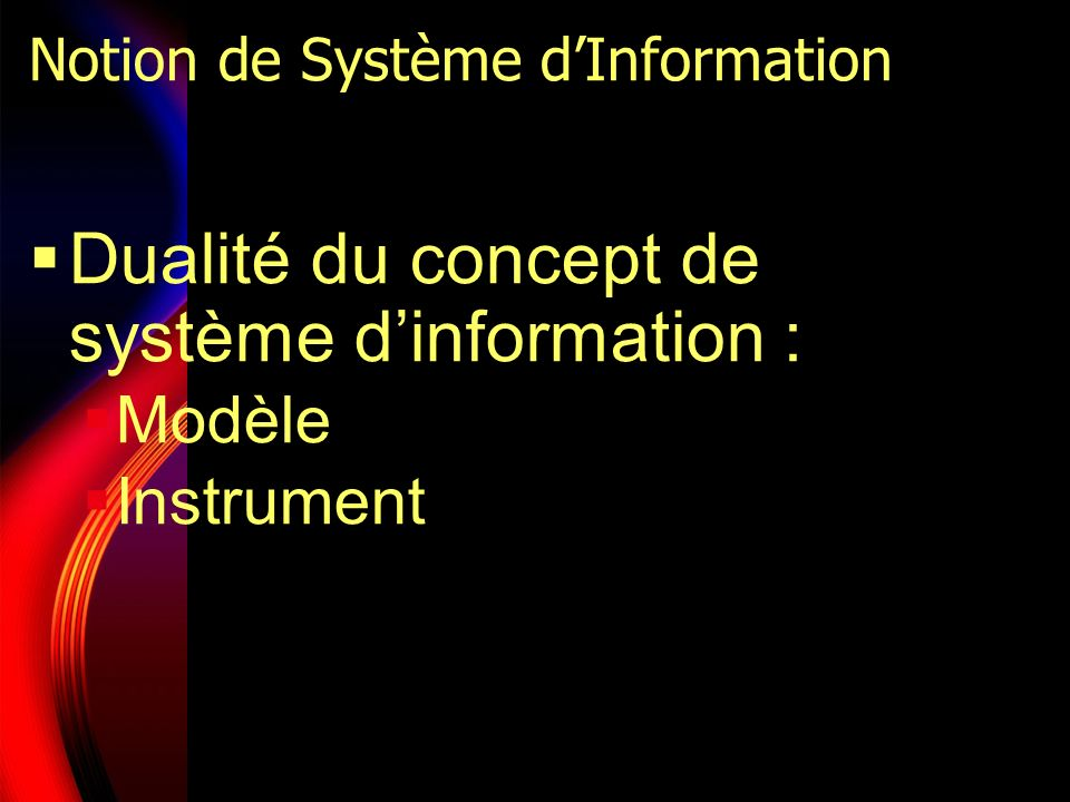 Notion de Système dInformation Dualité du concept de système dinformation : Modèle Instrument