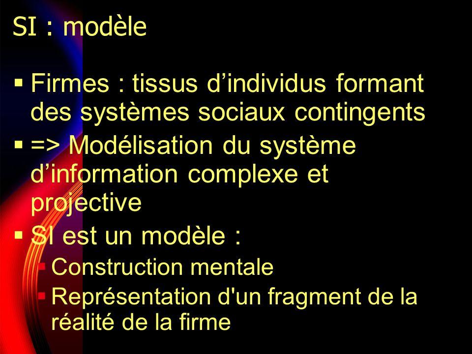 SI : modèle Firmes : tissus dindividus formant des systèmes sociaux contingents => Modélisation du système dinformation complexe et projective SI est