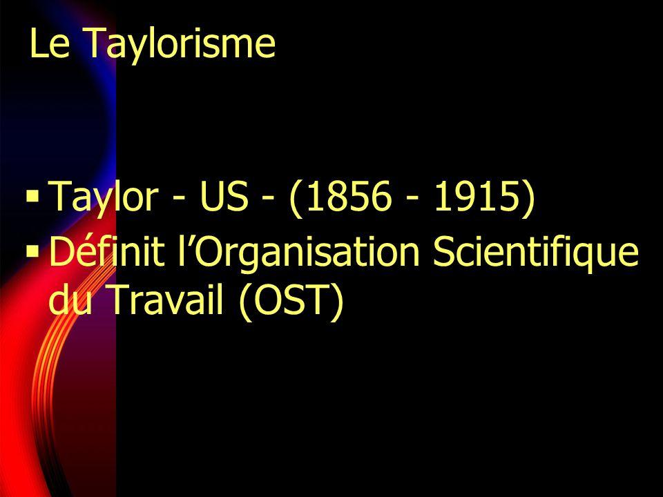 Le Taylorisme Taylor - US - (1856 - 1915) Définit lOrganisation Scientifique du Travail (OST)