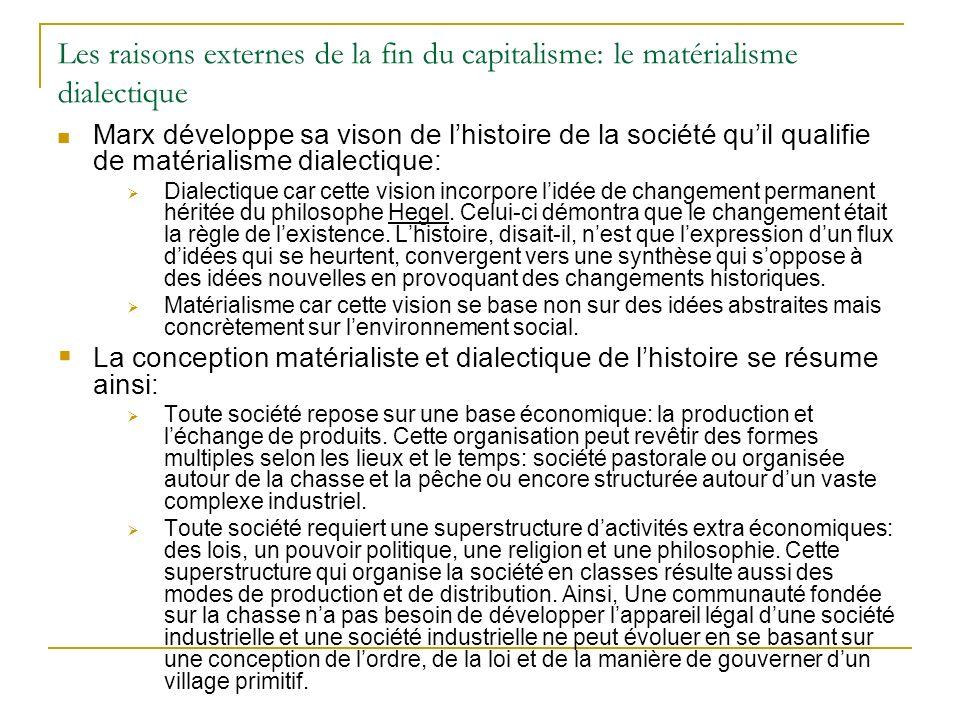 Les raisons externes de la fin du capitalisme: le matérialisme dialectique Marx développe sa vison de lhistoire de la société quil qualifie de matéria