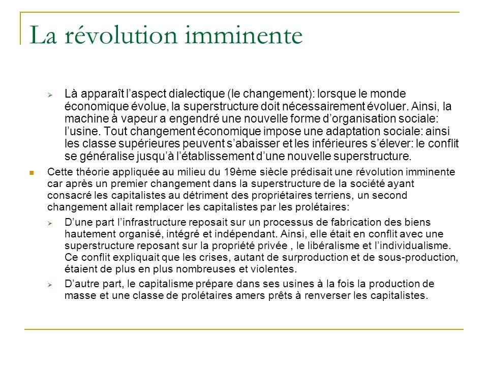 La révolution imminente Là apparaît laspect dialectique (le changement): lorsque le monde économique évolue, la superstructure doit nécessairement évo