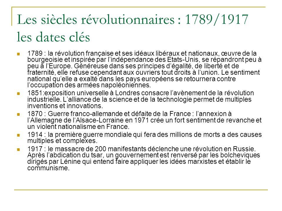 Les siècles révolutionnaires : 1789/1917 les dates clés 1789 : la révolution française et ses idéaux libéraux et nationaux, œuvre de la bourgeoisie et