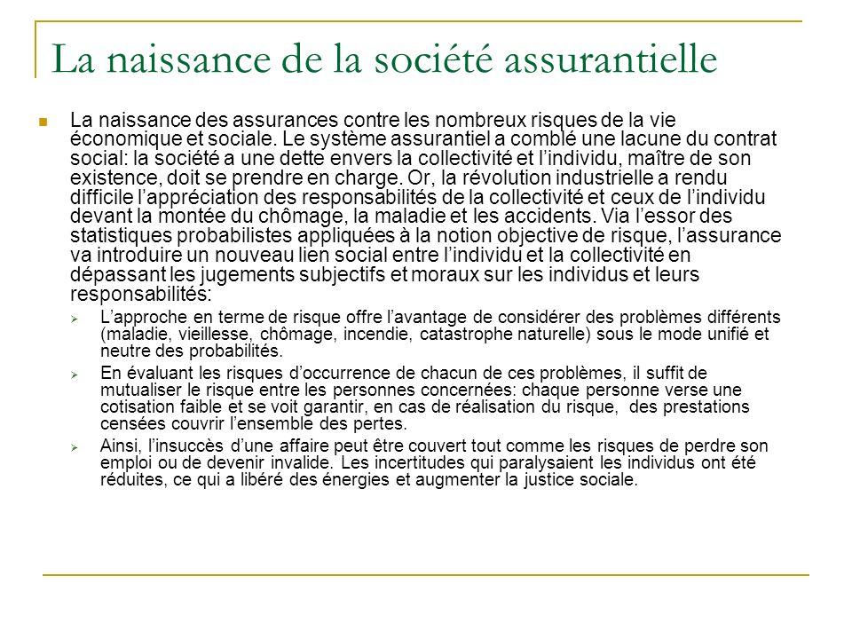 La naissance de la société assurantielle La naissance des assurances contre les nombreux risques de la vie économique et sociale. Le système assuranti