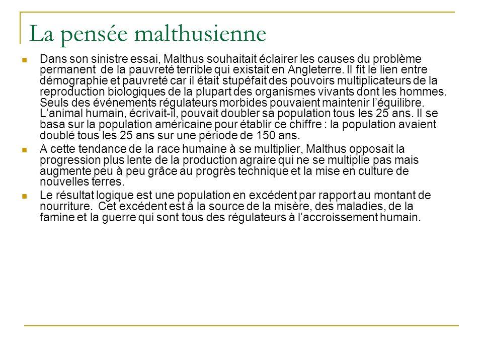 La pensée malthusienne Dans son sinistre essai, Malthus souhaitait éclairer les causes du problème permanent de la pauvreté terrible qui existait en A