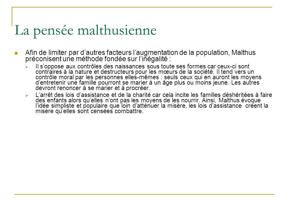 La pensée malthusienne Afin de limiter par dautres facteurs laugmentation de la population, Malthus préconisent une méthode fondée sur linégalité : Il