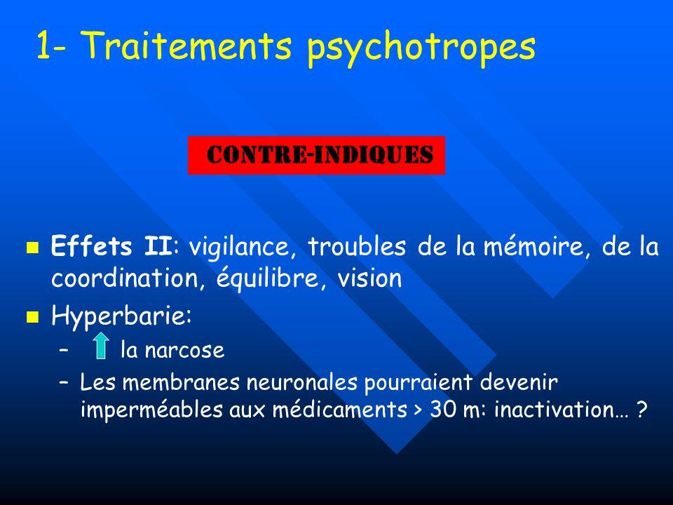 1- Traitements psychotropes Effets II: vigilance, troubles de la mémoire, de la coordination, équilibre, vision Hyperbarie: – – la narcose – –Les memb