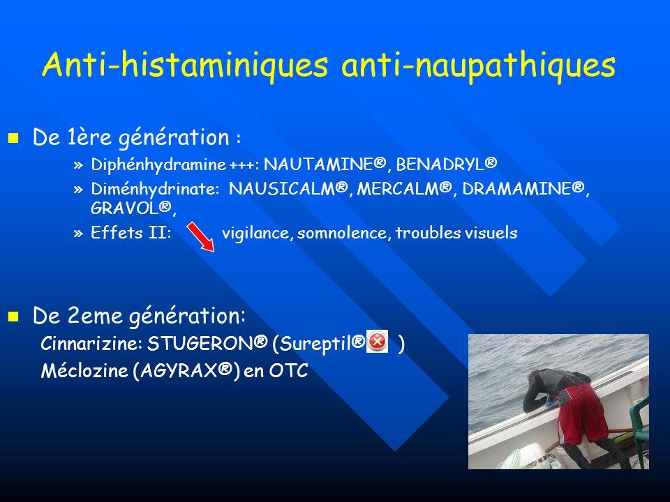 Anti-histaminiques anti-naupathiques De 1ère génération : » »Diphénhydramine +++: NAUTAMINE®, BENADRYL® » »Diménhydrinate: NAUSICALM®, MERCALM®, DRAMA
