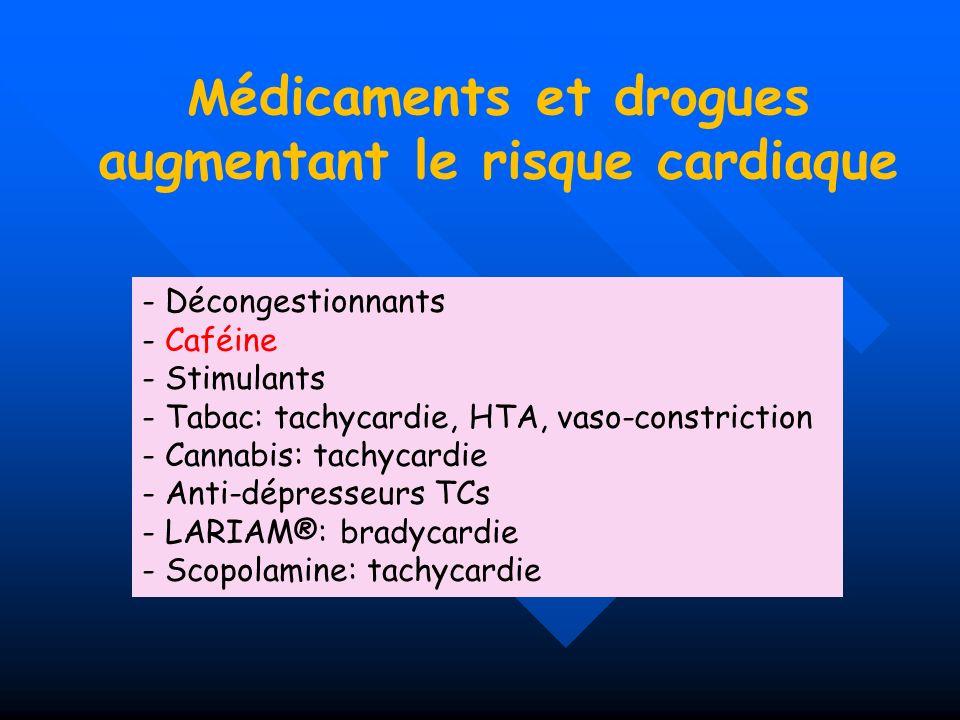 M édicaments et drogues augmentant le risque cardiaque - Décongestionnants - Caféine - Stimulants - Tabac: tachycardie, HTA, vaso-constriction - Canna